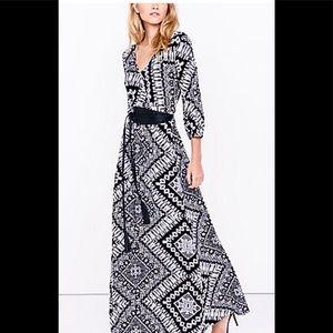 Express Black and White Ikat Print Maxi Dress